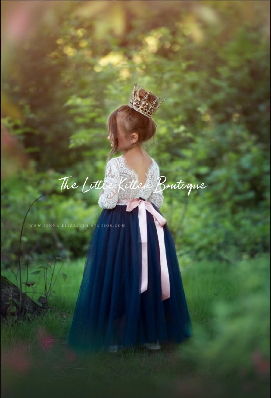 زفاف - Flower Girl Dress, tulle flower girl dresses, white lace flower girl dress, Nautical Flower Girl Dress, Navy Blue Flower Girl Dress, tiara