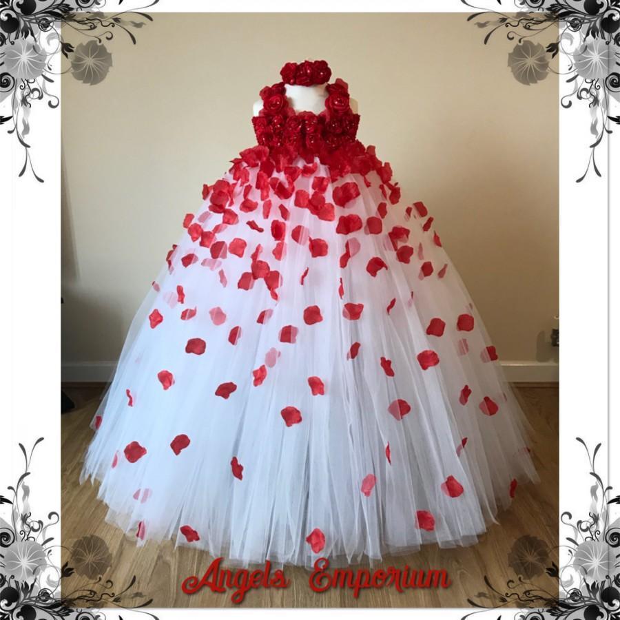 زفاف - Beautiful Red And White Flower Girl Tutu Dress Embellished with Petals. Bridesmaids Weddings Christening Special Occasions.