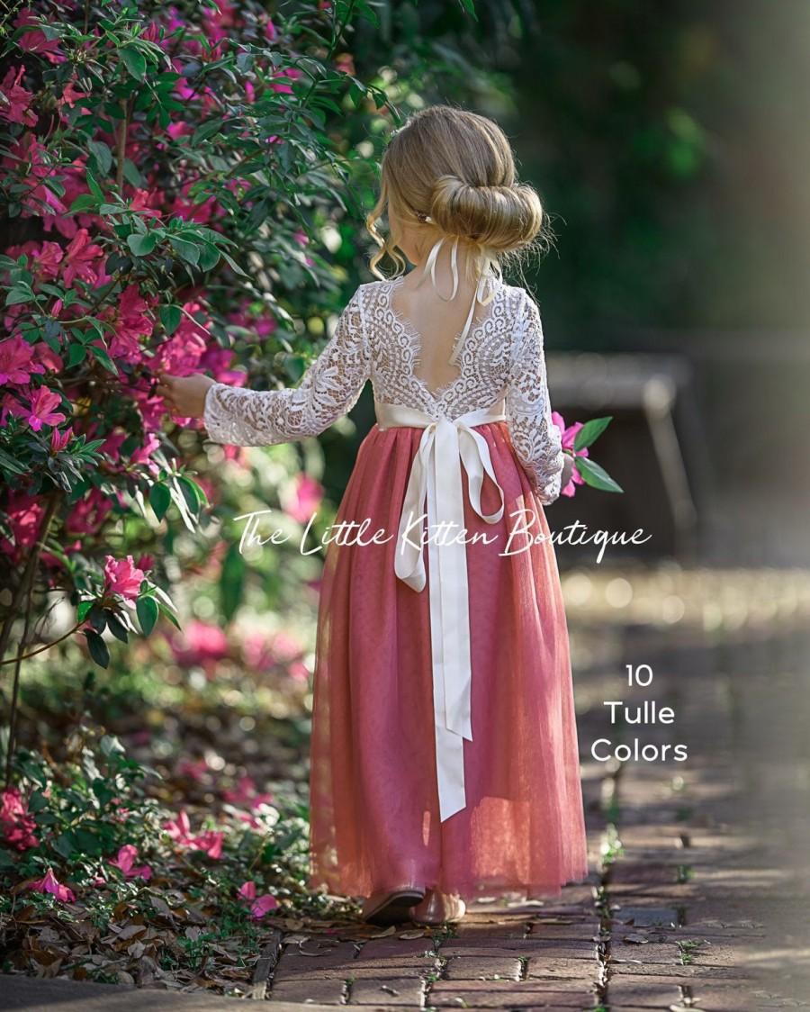 Свадьба - Flower Girl Dress, tulle flower girl dress, boho flower girl dress, lace flower girl dress, girls dress, junior bridesmaids dress, princess