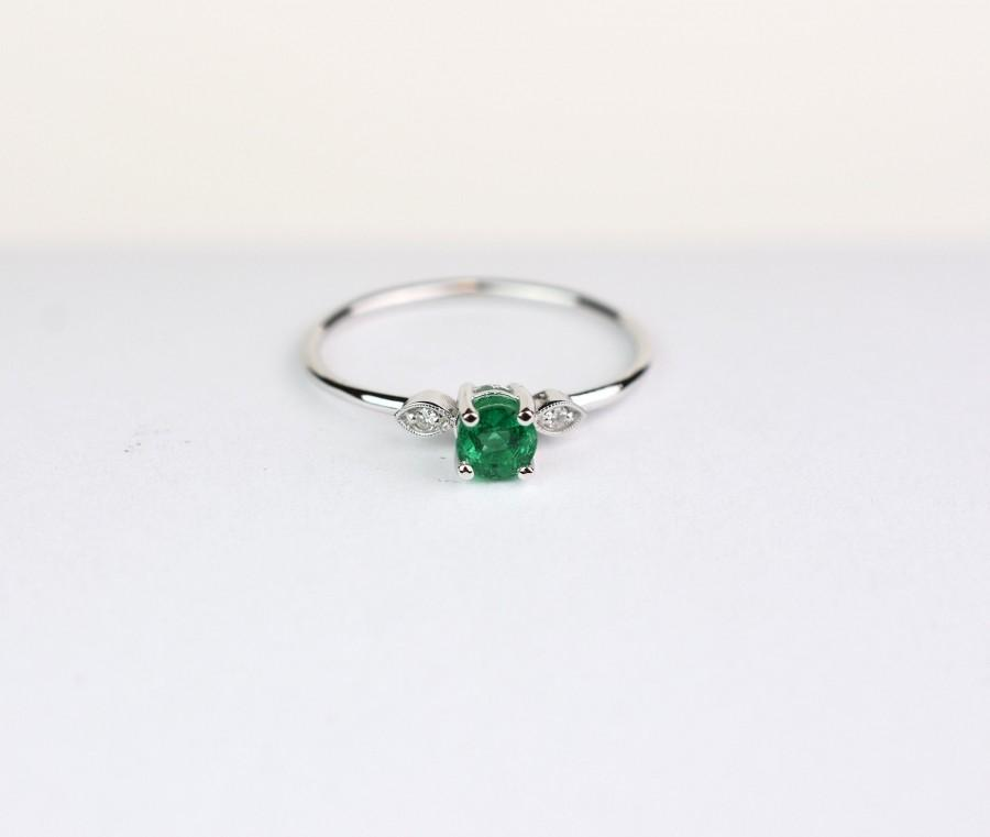 Wedding - Emerald Ring / 14k Gold Emerald Ring with Diamonds / Emerald Engagement Ring / Stackable Emerald Ring / Diamond Emerald Ring / Round Emerald