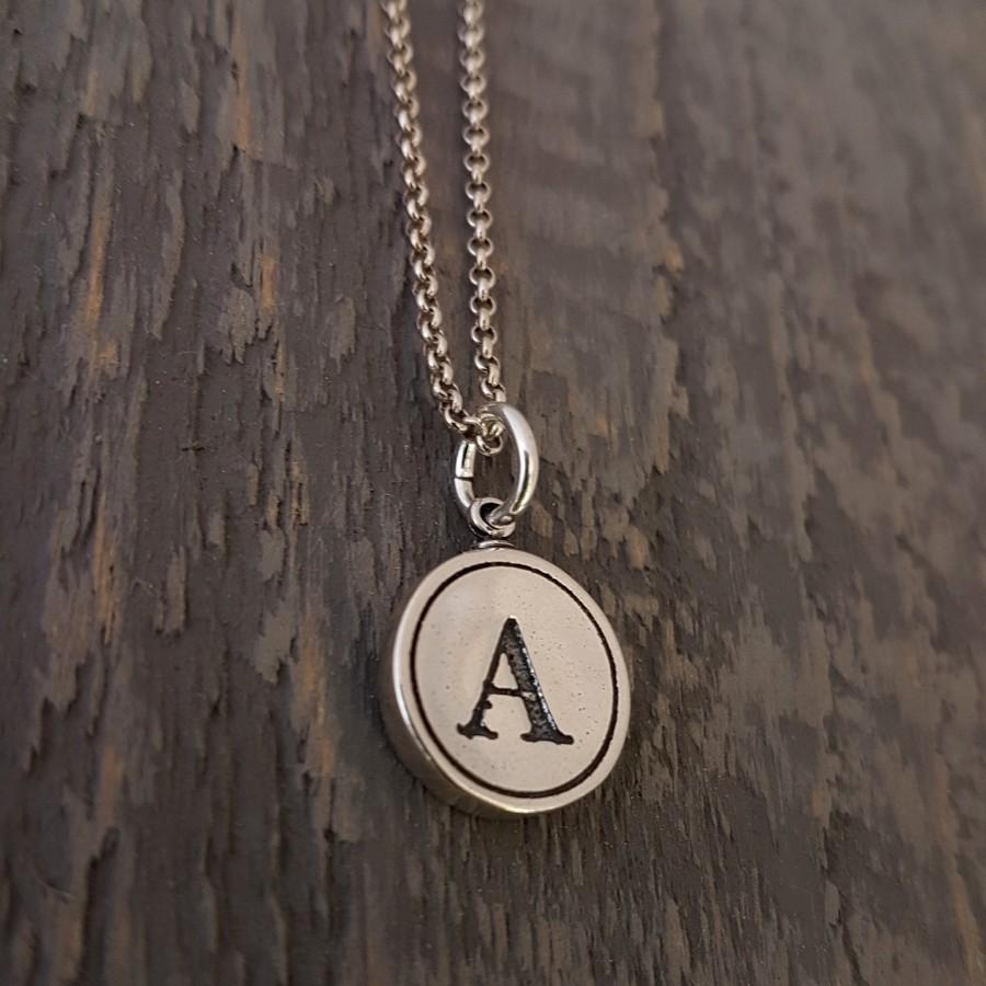 Hochzeit - Holiday Gift Necklace,  Sterling Silver Typewriter Key Charm,  Initial Necklace - ABCDEFGHIJKLMNOPQRSTUVWXYZ All Letters Available