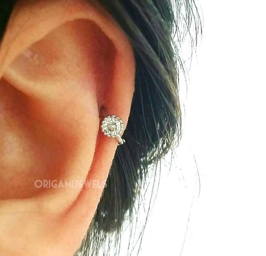 Hochzeit - CZ Simple cartilage hoop, silver cartilage hoop, Tragus piercing ring, tragus earring, hoop ring, simple hoops, endless hoop, circle tragus