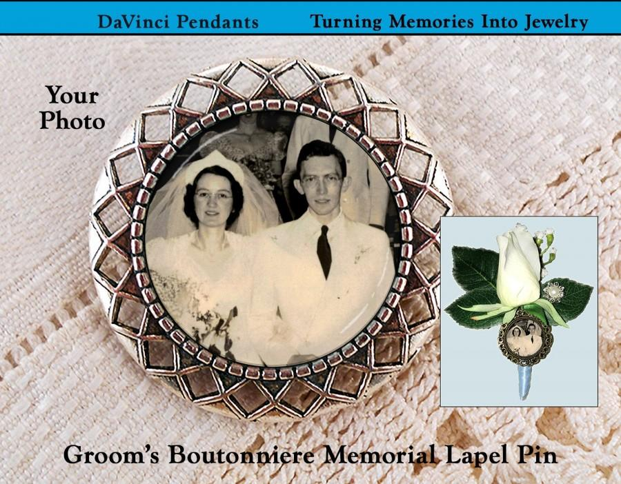 Hochzeit - Grooms Memorial Boutonniere Lapel Pin, Wedding Brooch Remembrance Gift, Loving Memory Keepsake, Sympathy Grief Loss Picture Memento Mourning