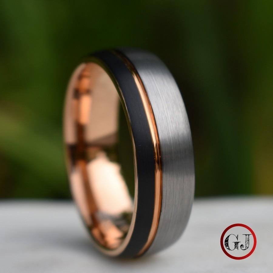 زفاف - Domed Tungsten Ring Black and Silver Brushed with Rose Gold Accent, Mens Ring, Mens Wedding Band