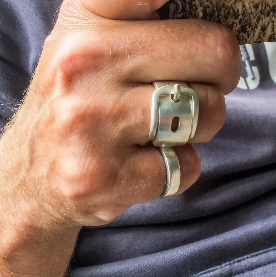 Hochzeit - Buckle ring-sterling silver-handmade-statement ring-gifts for men-chunky ring