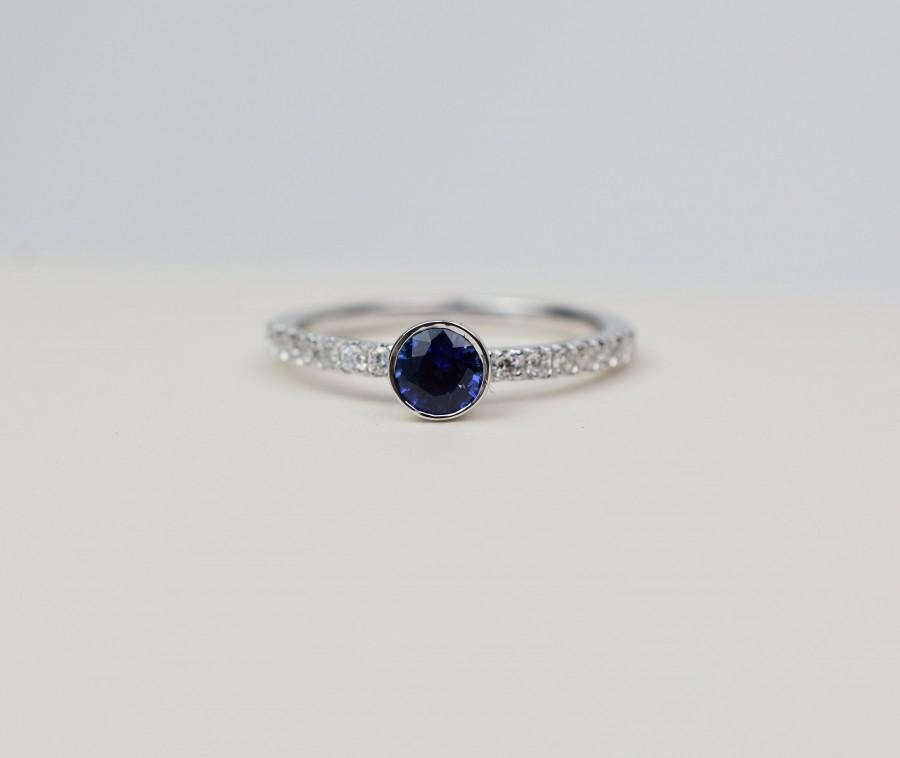 Hochzeit - Sapphire Ring / Diamond Sapphire Ring / 14k White Gold Sapphire Ring / Ceylon Sapphire Diamond Ring / Sapphire Engagement Ring /BlueSapphire