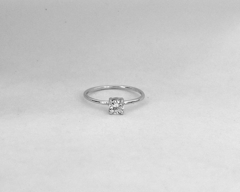 Wedding - Diamond Ring / 14k White Gold Diamond Engagement Ring /  Dainty Diamond Ring / Minimalist Diamond Ring / Delicate Diamond Ring / Bridal Ring