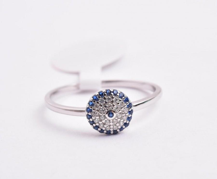 Свадьба - Women Sterling Silver 925 Ring Evil Eye Hamsa Hand Stacking Band knuckle Stackable Bridal Bridesmaids Wedding Gift