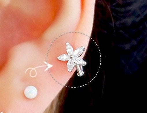Свадьба - Flower hoop cartilage earring, hoop earrings, delicate flower tragus earring, endless hoop, dainty ring earring, CZ flower helix piercing