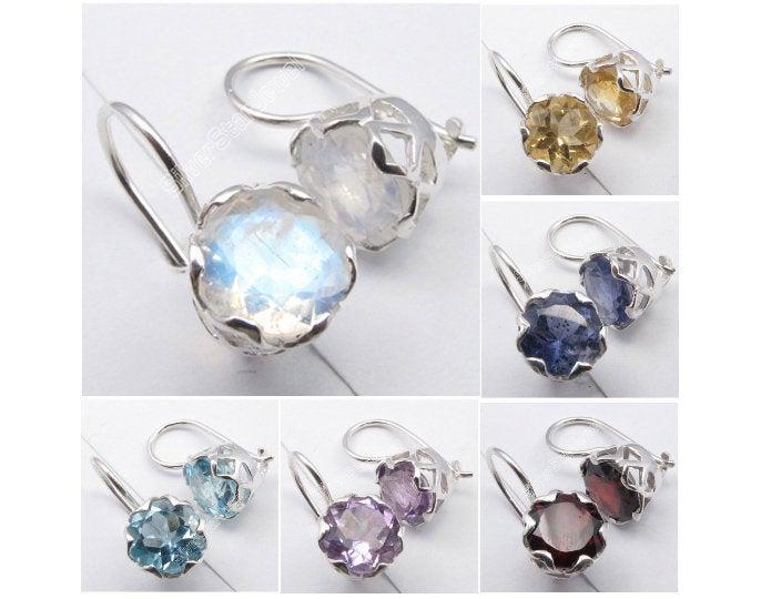 """Hochzeit - 925 Silver RAINBOW MOONSTONE Earrings 0.7"""""""