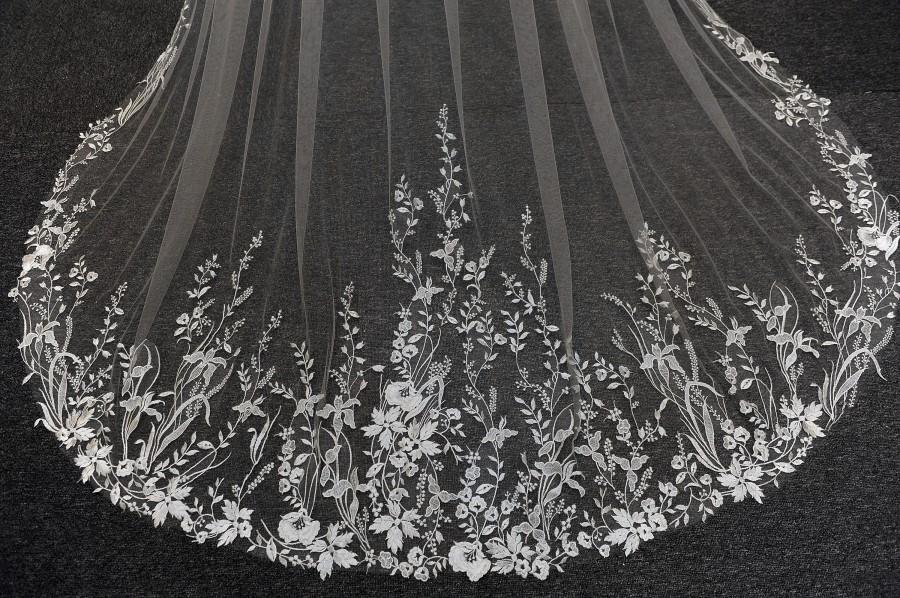 زفاف - lS92/ Flower leaf lace veil/ 1 tier veil/ cathedral veil/custom veil
