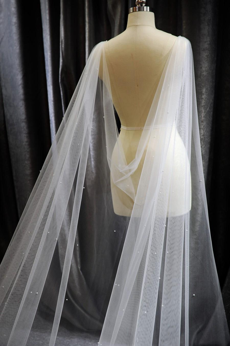 زفاف - LS105/Pearl cape /drap cape/ bridal cape/ cathedral length/custom cape