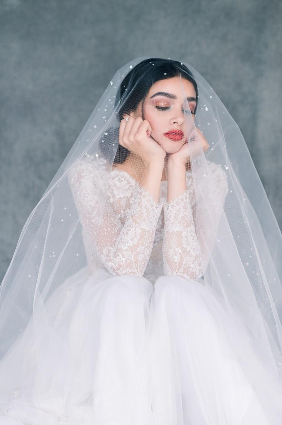 Wedding - Scattered Crystal Drop Veil, Pearl Blusher Veil, Statement Bridal Veil, Ivory Wedding Veil, Chapel Length Veil, White Cathedral Veil, ASHLYN