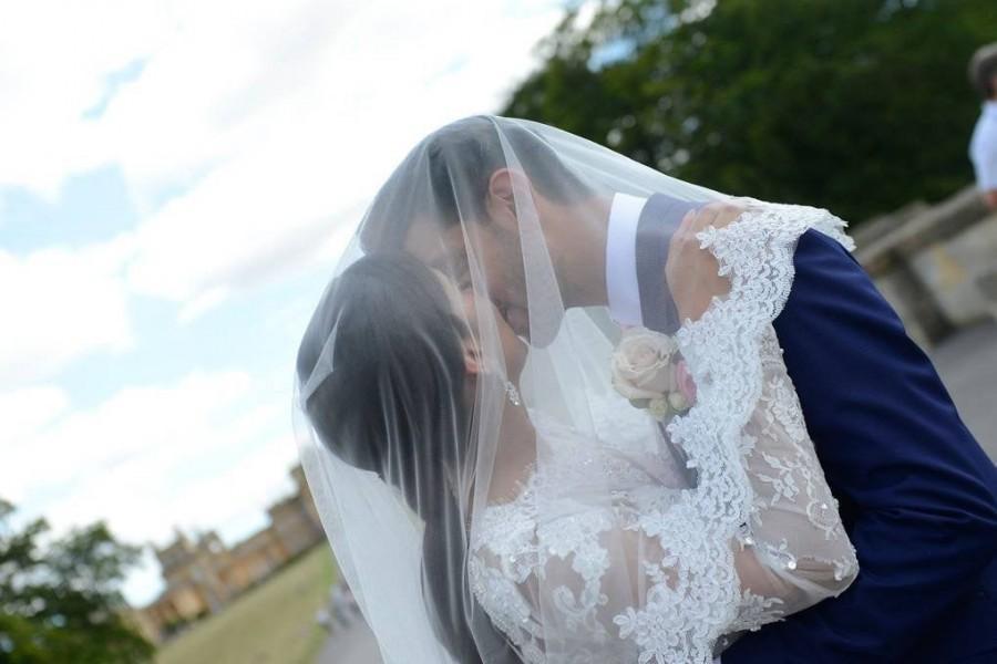زفاف - Double Lace Bridal Veil , Lace Wedding Veil,  white ivory soft veil bridal Veil Fingertip Elbow Cathedral Chapel Waltz length bridal veil