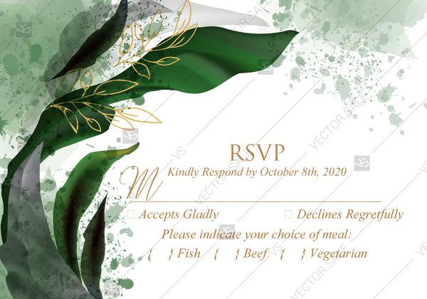 Wedding - RSVP card wedding invitation set watercolor greenery floral wreath, floral, herbs garland gold frame PDF 5x3.5 in personalized