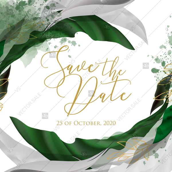 Свадьба - Save the date wedding invitation set watercolor splash greenery floral wreath, herbs garland gold frame PDF 5,25x5,25 in