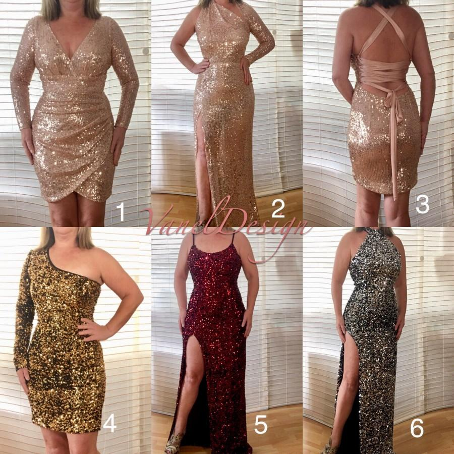 زفاف - Long Bridesmaids Dress, Prom, Mermaid, Wedding, Gown, Bridal, Formal ,Evening, Open Back, V-Neck,Plus Size,Sequins,Cocktail, sexy, Rehearsal