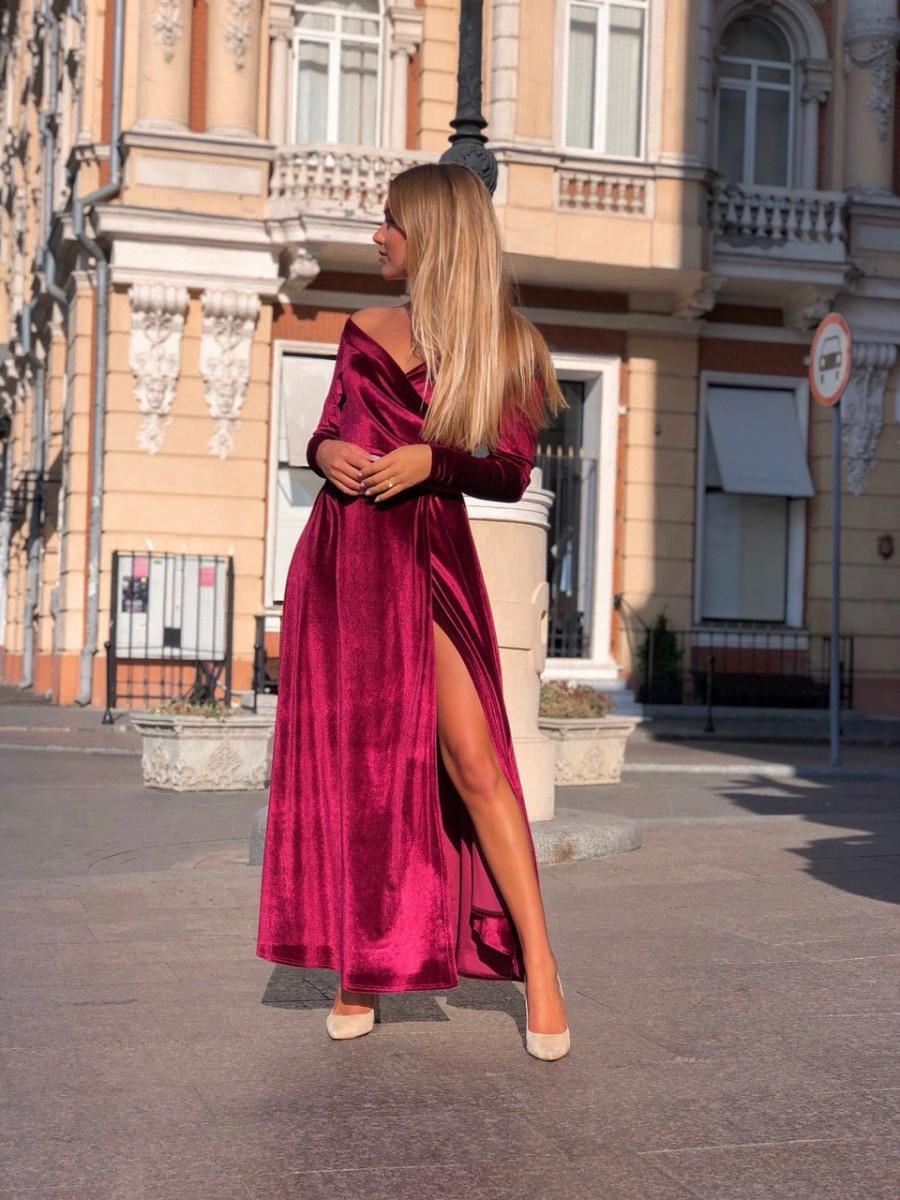 Свадьба - Burgundy Velvet Dress,Wedding guest dress, High Slit Dress,Long Sleeve Dress, Bridesmaid Cleavage Dress, Long Maxi Dress, Off Shoulder Dress
