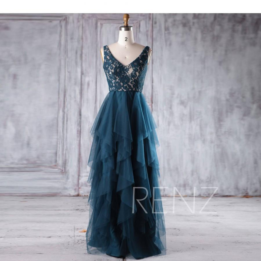 Hochzeit - Ink Blue Bridesmaid Dress Ruffle Tulle Skirt Prom Dress Sexy V Back Formal Dress V Neck Party Dress Sleeveless Lace Wedding Dress (HS376)