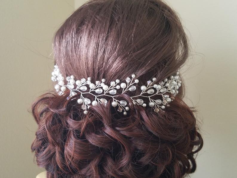 Wedding - Pearl Crystal Hair Vine, White Pearl Bridal Hair Vine, Pearl Crystal Hair Wreath, Wedding Headpiece, Crystal Pearl Bridal Tiara Hair Jewelry