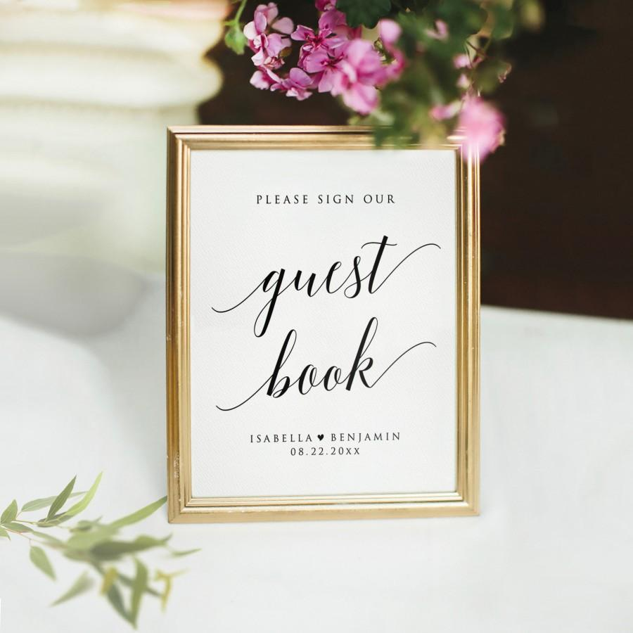 Hochzeit - Printable Guest Book Sign Template, Modern Guestbook Sign, Rustic Guestbook Sign, Please Sign Our Guestbook, Editable Wedding Sign Template