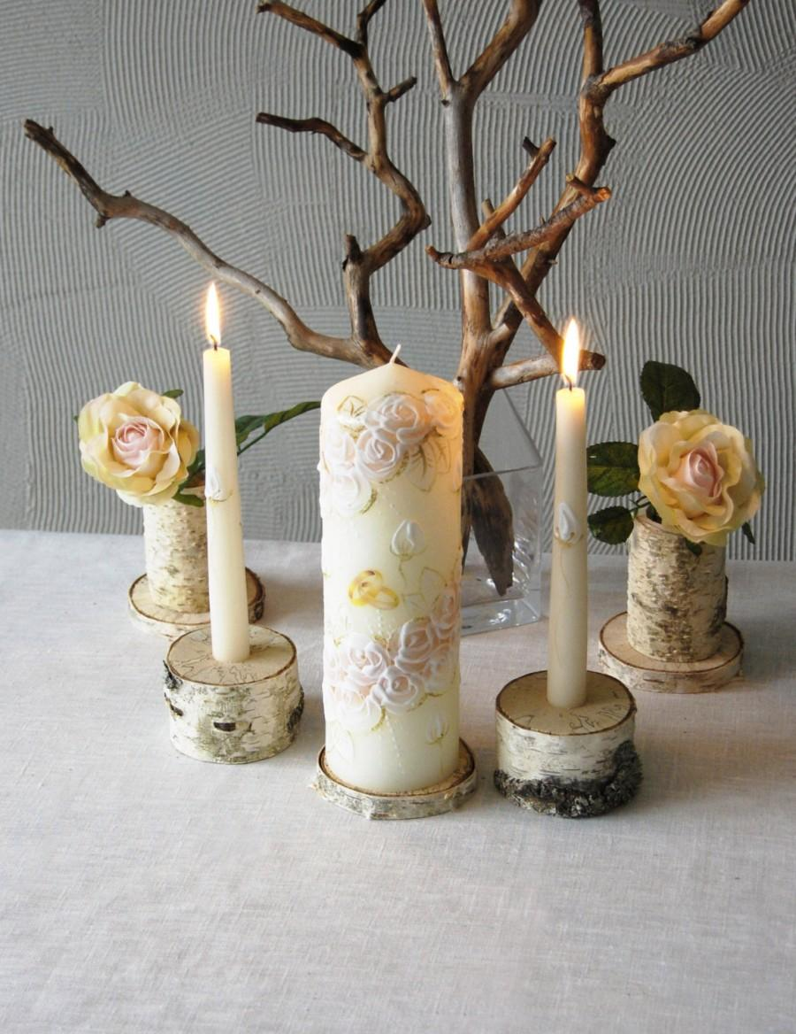 Wedding - Unity Candle Holder Set, Birch Bark Taper and Cylinder Candle Holders Set of 3, Rustic Wedding Decor, Woodland Wedding Unity Candle Holders