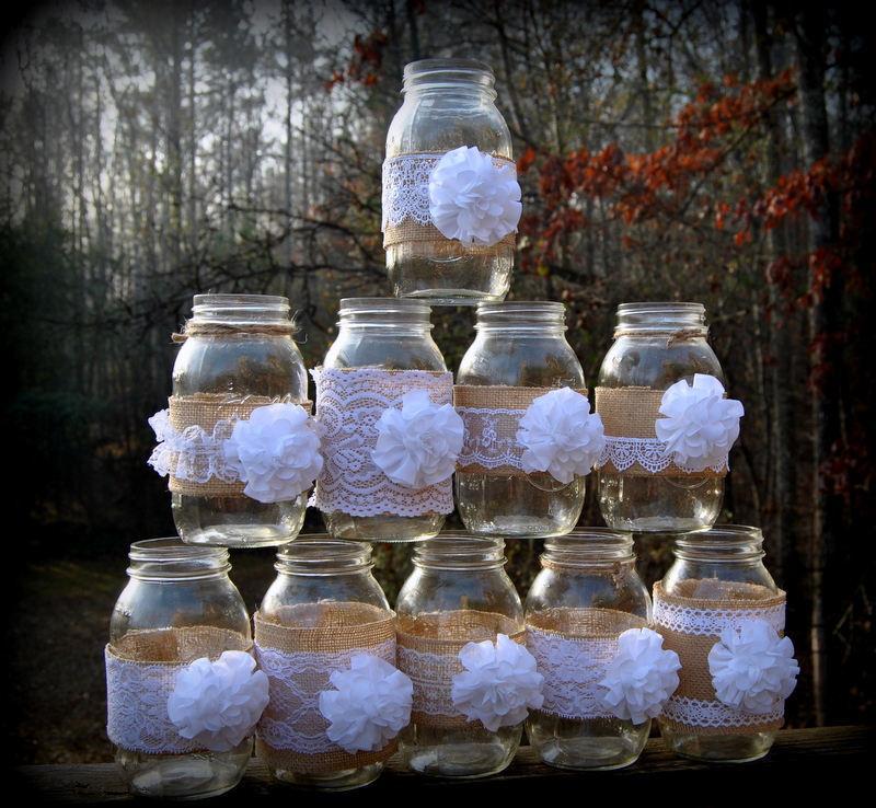 Mariage - 10 Mason Jar Sleeves Burlap Decorations Wraps Lace Shabby Rustic Wedding Party Shower Centerpiece