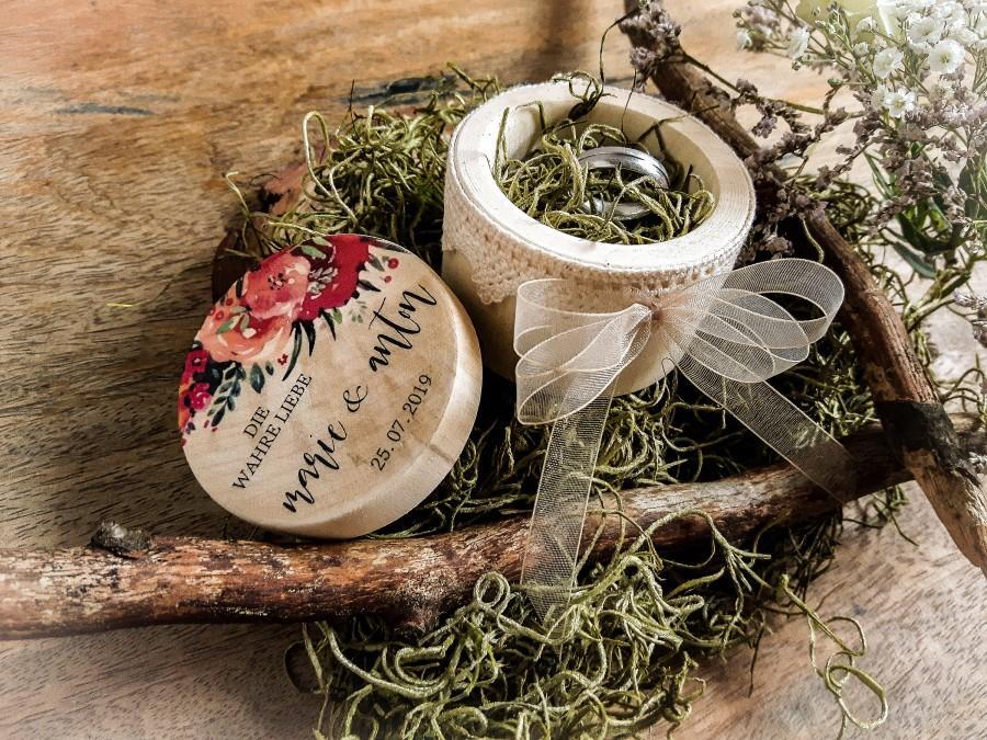 Wedding - Ringschachtel Hochzeit Ringschatulle aus Holz DIE WAHRE LIEBE