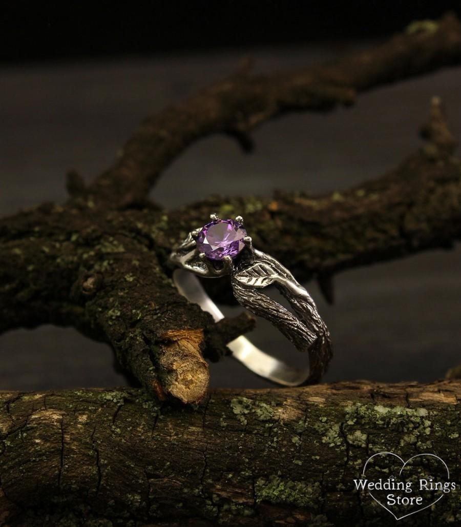 Свадьба - Branch and leaves engagement ring with amethyst, Unique branch ring, Tree bark ring in silver, Women's branch ring, Unusual engagement ring
