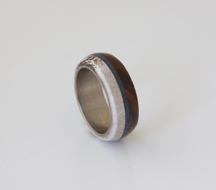 Свадьба - Anter Ring Titanium Ring Man Ring Mens Wedding Band Wood antler Ring lapislazuli ring man and woman ring flat man ring size 3 to 16