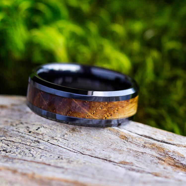 Wedding - Black Ring For Men Inlaid With Whiskey Barrel Wood