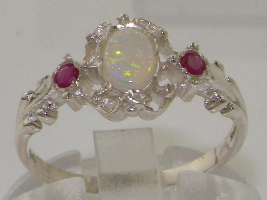 Свадьба - 9K English White Gold Natural Opal & Ruby Unique Victorian Delicate Promise Ring - Made in England -Customize:9K,14K,18K,Yellow, Rose,White