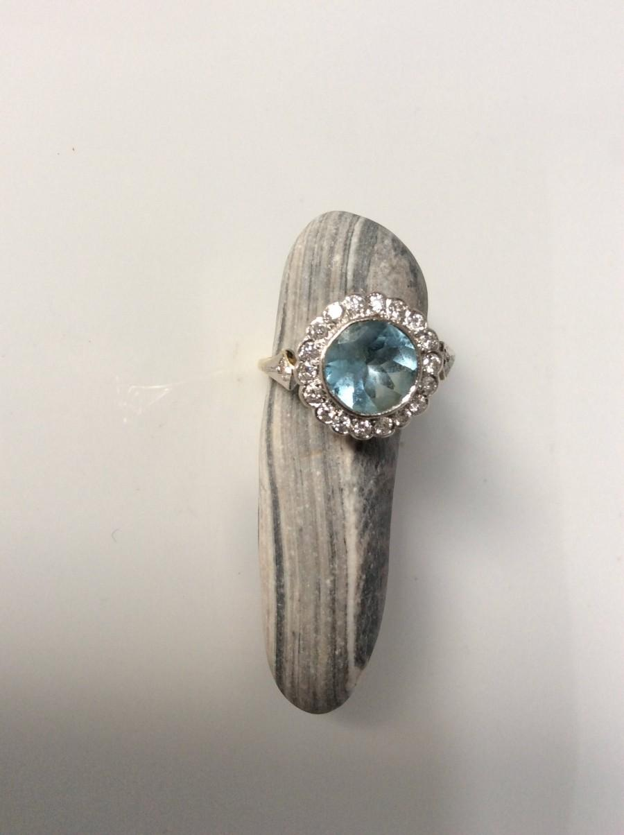 Wedding - Vintage aquamarine and diamond  ring, C 1940 a very pretty ring that would make a delightful engagement ring, aquamarine of 1.4 carat