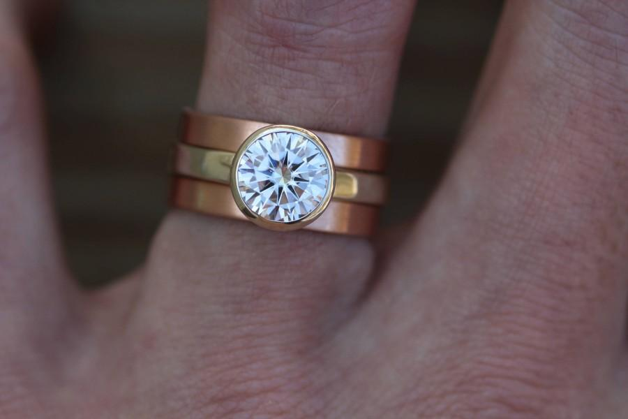 Wedding - Moissanite Bezel Ring Set - Rose Gold and 14 or 18kt White Gold Wide Ring Set - Wide Rose Gold Moissanite Set - Interlocking - Stackable