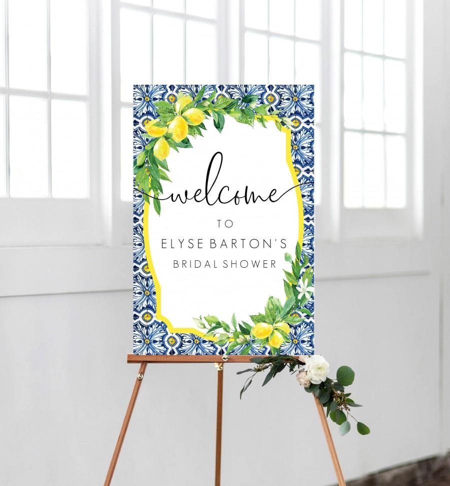 زفاف - Lemon Bridal Shower Welcome Sign - Positano Blue Tile - Printable Wedding Sign - Greenery Welcome Sign - Baby Shower Sign