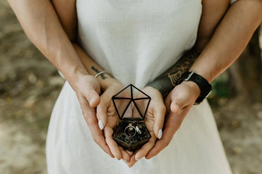 Mariage - Ring box, Wedding ring holder, Custom ring box, Wedding ring pillow, Ring bearer box, Engagement ring box, Jewelry box, Proposal ring box