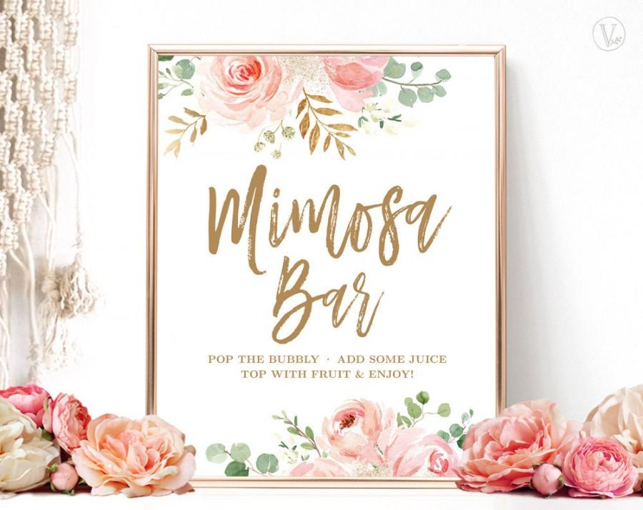 زفاف - Blush Pink Floral Mimosa Bar Sign, Printable Mimosa Bar Sign, Bridal Shower Mimosa Bar Sign, Floral, Gold, VWC95