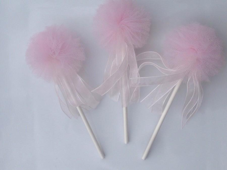 زفاف - 12 Tulle pom poms Party Decoration Cupcake Toppers