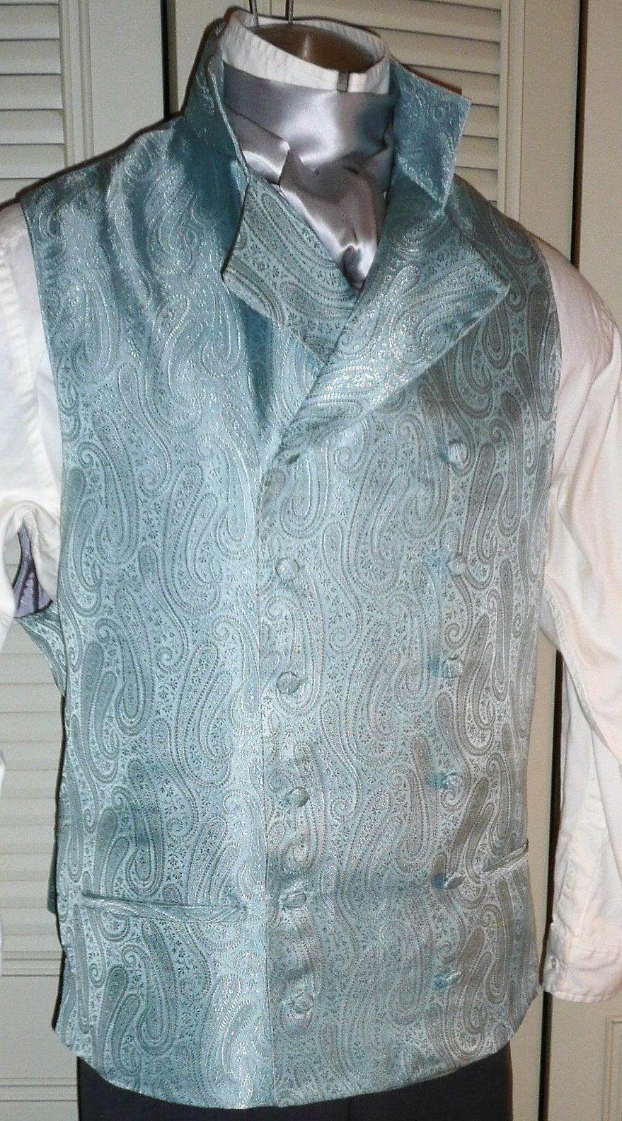 Wedding - English Regency Double Breasted Vest Wedding Groom Waistcoat French Empire