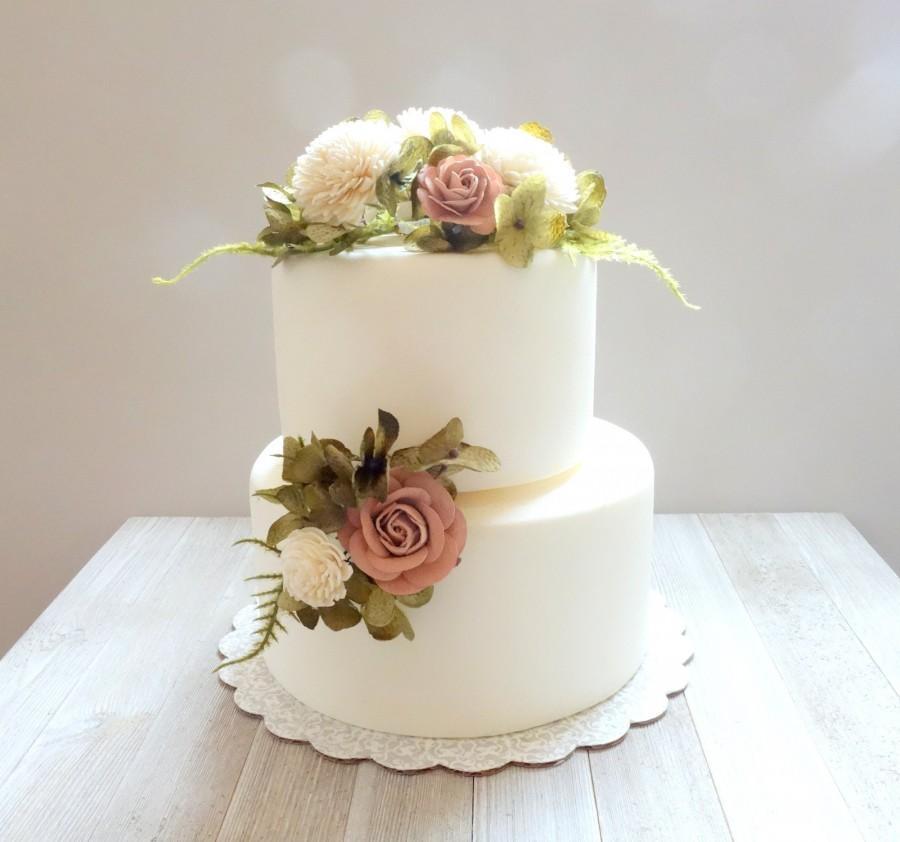 Wedding - Wedding Cake Topper, Floral Cake Decoration, Cake Topper Flowers, Flower Picks for Cake, Dusty Rose Wedding, DYI Cake Decor, Cake Flowers