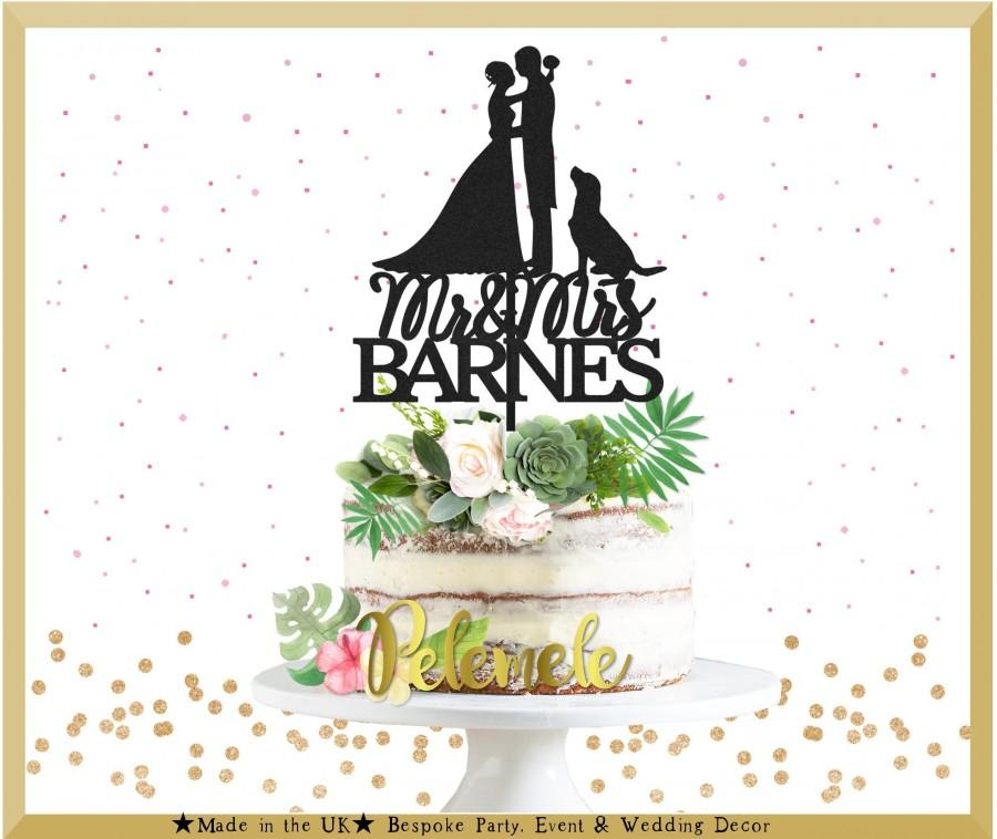 Свадьба - Wedding Silhouette Cake Topper With Dog - Dog Wedding Cake Topper, Silhouette Wedding Cake Topper, Couple Wedding Cake Topper with Dog