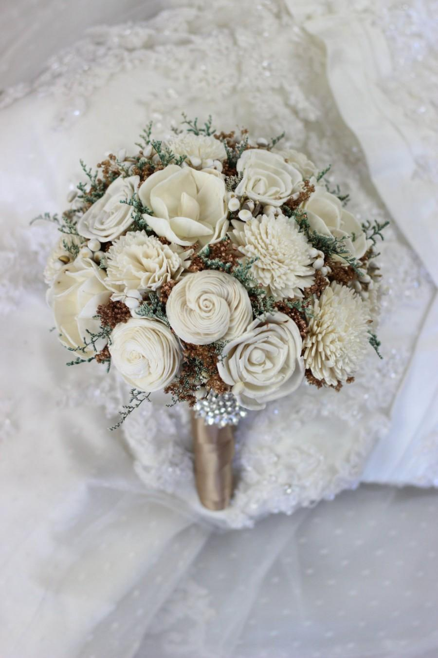 Wedding - Wedding Bouquet, Vintage Bridal Bouquet, Romantic bouquet, Alternative bouquet, Sola flower bouquet, keep sake bouquet