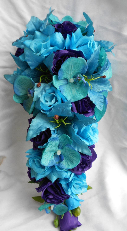 Hochzeit - Bridal wedding set Malibu blue cascade silk flowers bouquet tiger lilies , orchids and roses