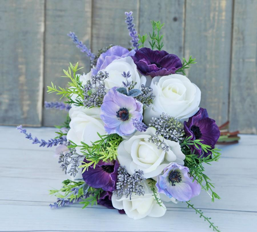Свадьба - Purple Wedding Bouquet, Anemone Bouquet, Garden Bouquet, Rustic Bouquet, Silk Wedding Bouquet, Lavender Bouquet, Real Touch Bouquet