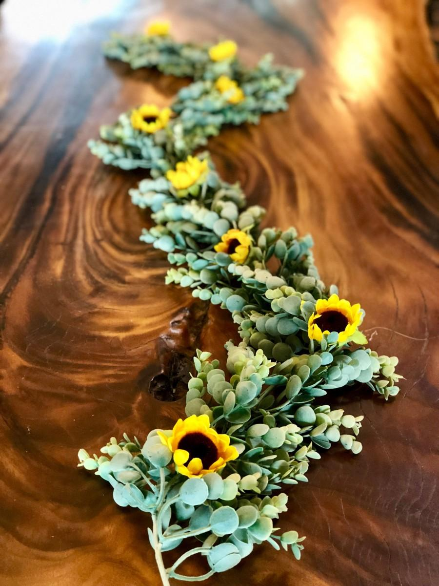 Wedding - Sunflower Garland, Eucalyptus Garland, Sunflower Arch, Sunflower Table Runner, Sunflower Centerpiece, Eucalyptus Centerpiece, Sunflower S