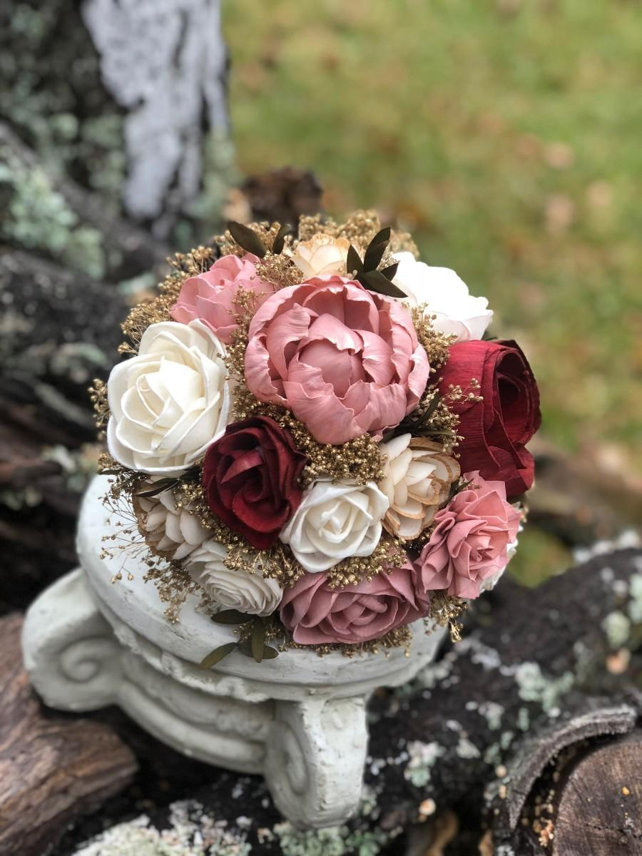 Wedding - Wedding Bouquet Burgundy Rose Gold Bouquet Bridesmaid Bouquet Burgundy Dusty Pink Gold Champagne Bouquet Burgundy Rose Maroon Wedding