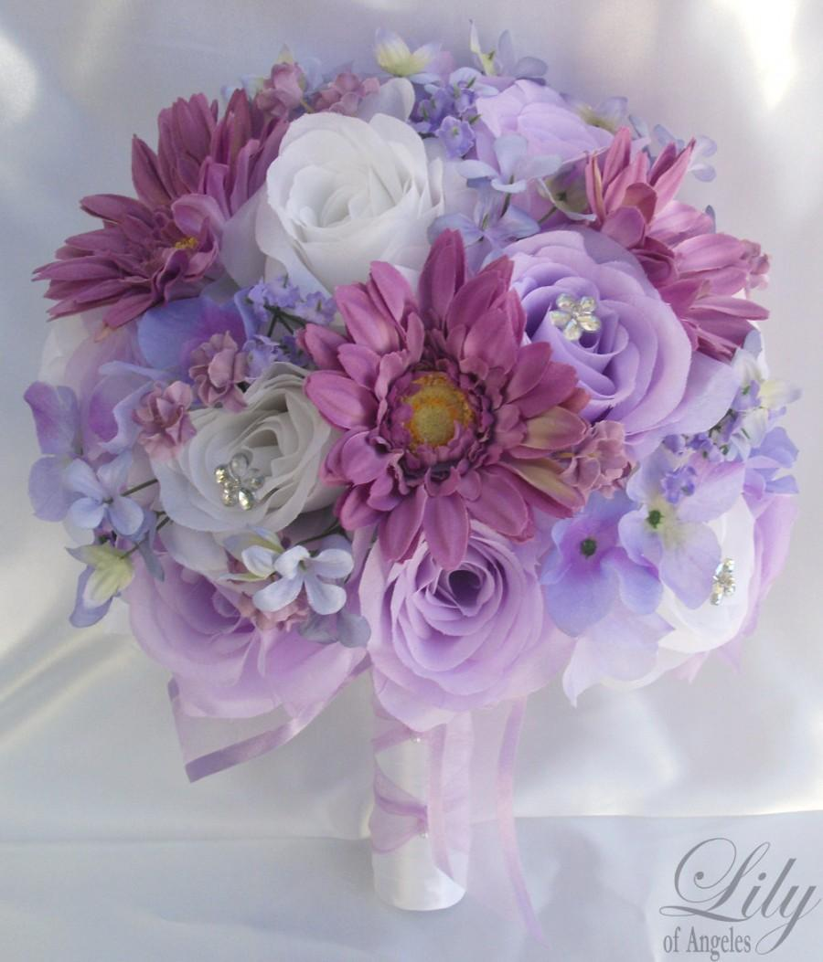 Wedding - Wedding Bouquet, Bridal Bouquet, Bridesmaid Bouquet, Silk Flower Bouquet, Wedding Flowers, 17 Piece Package, Lavender, Iris, Lily of Angeles