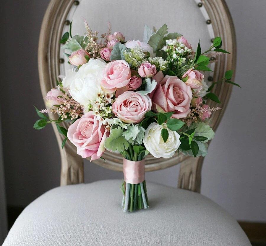 زفاف - Mauve Wedding Flowers, Bouquet, Bridal Bouquet, White, Pink, Dusty Rose Wedding Bouquet, Bridal Bouquet, Bridesmaids, Silk, artificial