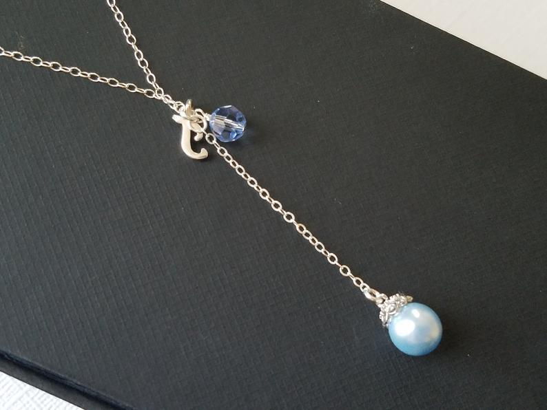 """Mariage - Y Lariat Initial Necklace, Swarovski Blue Pearl Necklace, Personalized Initial Lariat Necklace, Letter """"T"""" Silver Necklace, Wedding Jewelry"""