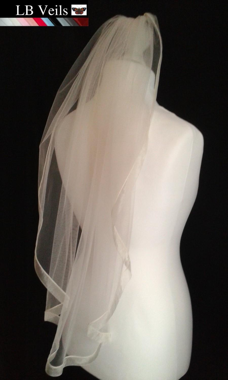 Hochzeit - Wedding, Veil, Beige, Champagne, Ribbon, Edge, 1 Single Tier, Plain, Short, Long, Elbow, Length, Fingertip, Floor, LB Veils LBV183 UK